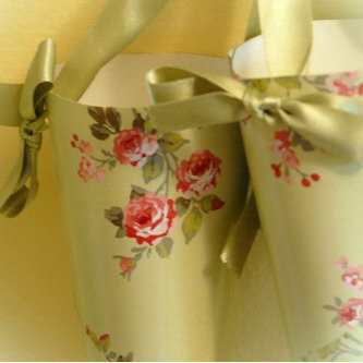 Vintage Style paper cones with ribbon hangers roses