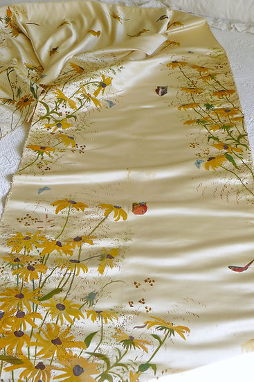 Hand Painted Silk Satin Floral Panel