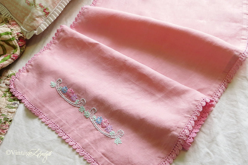 Pink Linen Embroidered Cloth