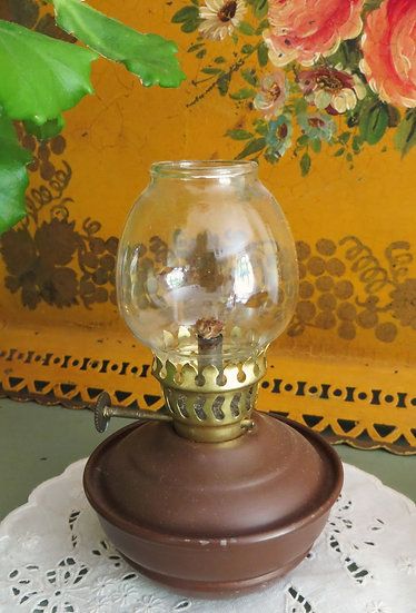 "Rustic Brown ""Nursery"" Oil Lamp Enamel"