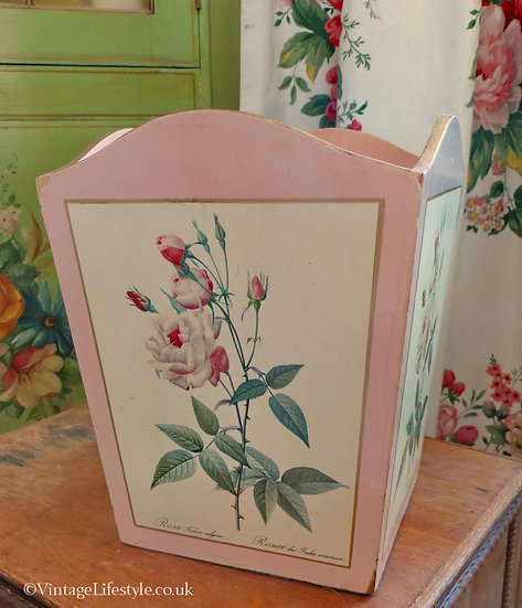 Pink Wooden Redoute Roses Bin vintage
