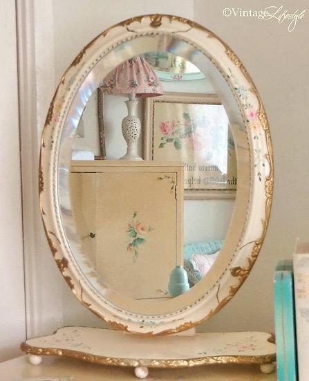 Vintage vanity mirror hand painted florals