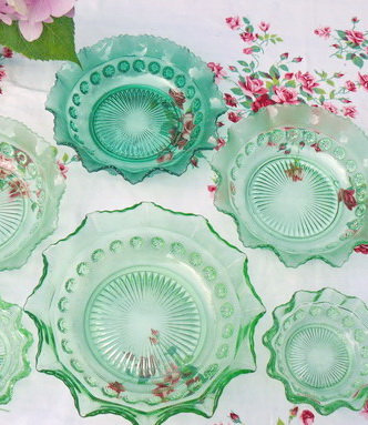 Set of Decorative Green Bowls close