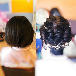 Bridal short hairstyle before vs after!