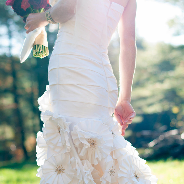 fine art new york wedding photography of a bride with a beautiful dress and flowers