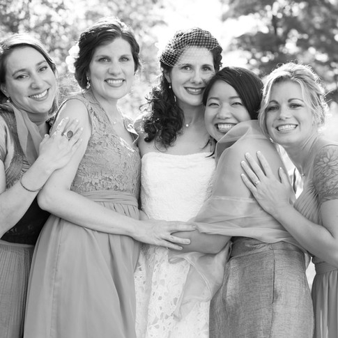 fine art new york wedding photography of a bride and her brides maids