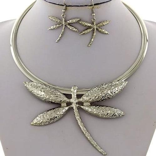 Dragonfly choker necklace set