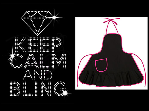 Keep Calm and BLING Bling Apron W/Pink trim