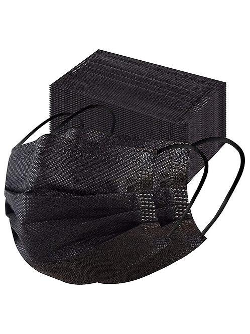 Black 50 piece disposable face mask sets