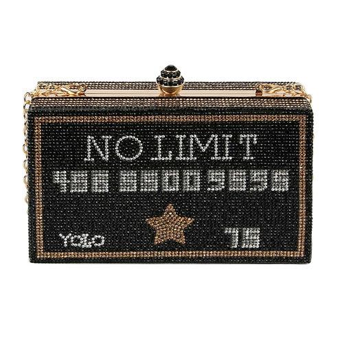 Black No Limit Card Hardcase Clutch