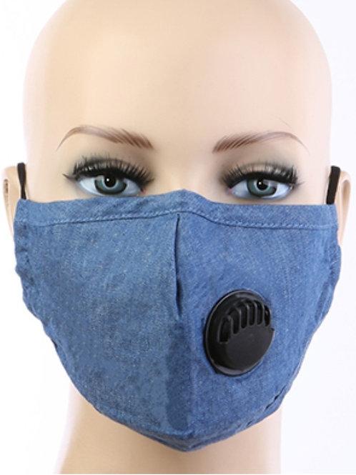 Denim Face Mask with filter pocket