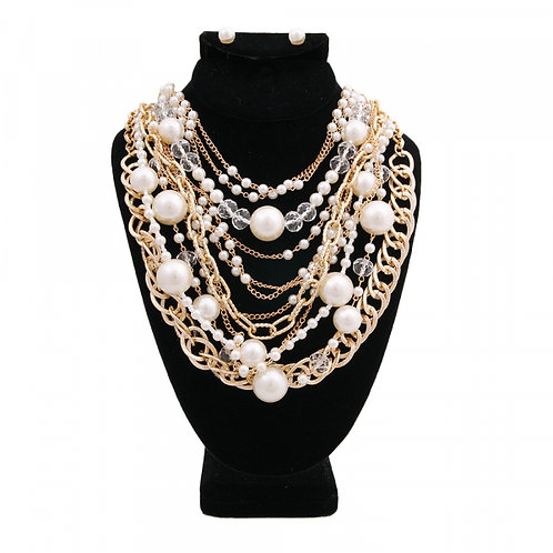 Pearls, Beads, and Gold Chains Necklace Set