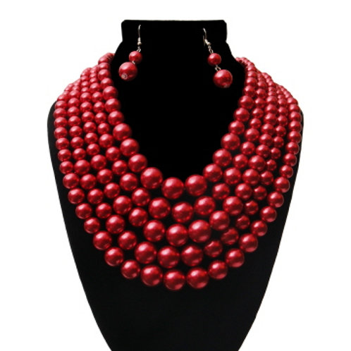 Delta Inspired Wine Strand Pearl necklace set