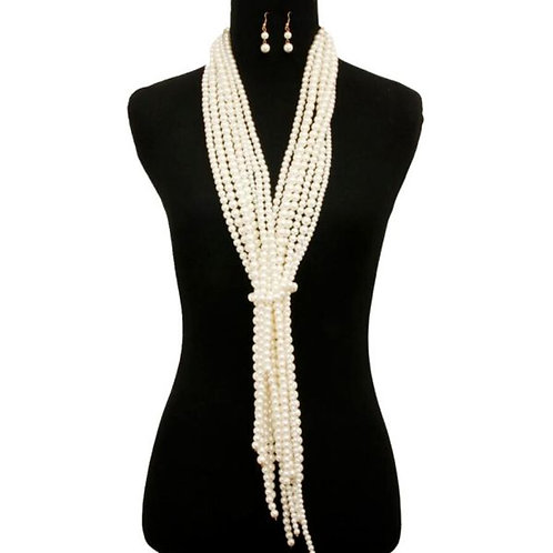 Pearl Scarf Necklace Set