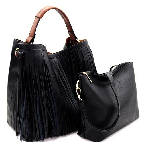 Fringe Hobo Bag Set