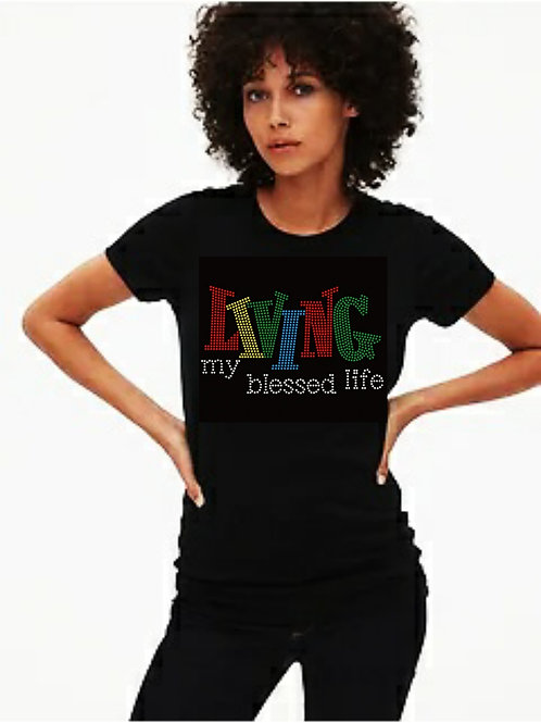 Living My Blessed Life Bling tee or Tote bag