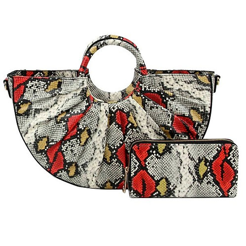 Snake Print Semi Circle Bag Set