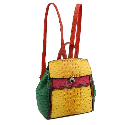 Yellow and Multi color vegan ostrich backpack