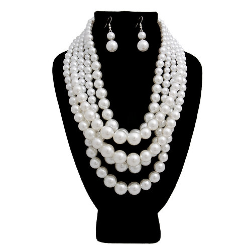 Greek Inspired White Strand Pearl necklace set