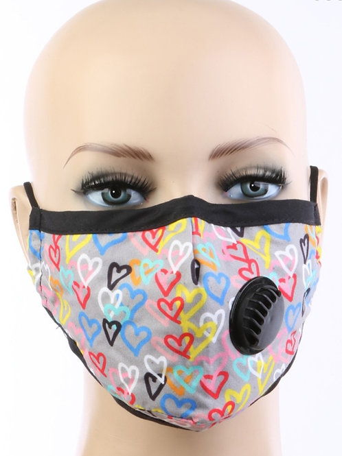 Heart print respirator Face Mask with filter pocket