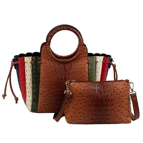 Brown Ostrich Patchwork Stripe Bag Set