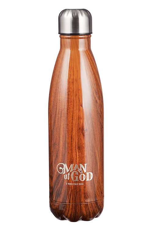 """""""Man of God"""" 1 Timothy 6:11   17oz Stainless Steel water bottle"""