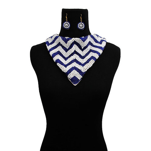 Blue and White beaded necklace set
