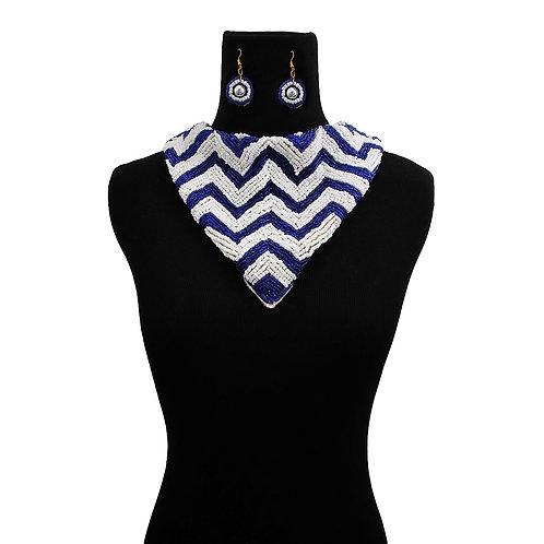 Zeta Inspired Blue and White beaded necklace set