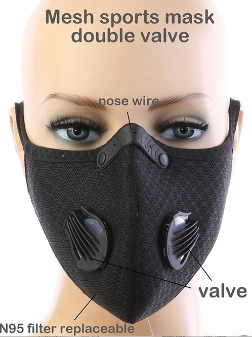 Black Sports Dual On-way discharge valve Face Mask