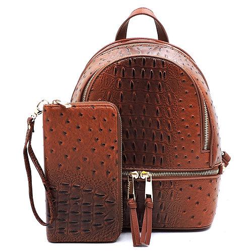 Tan Ostrich Croc 2-in-1 Backpack