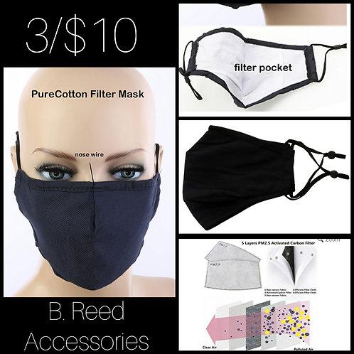 Set of 3 Black masks w/filter