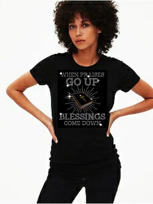 Praises Go Up Bling Tee or Tote Bag