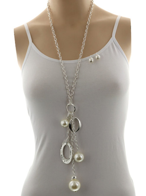 Long statement pearl necklace set