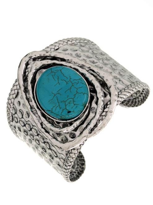 Silver and stone bangle bracelet
