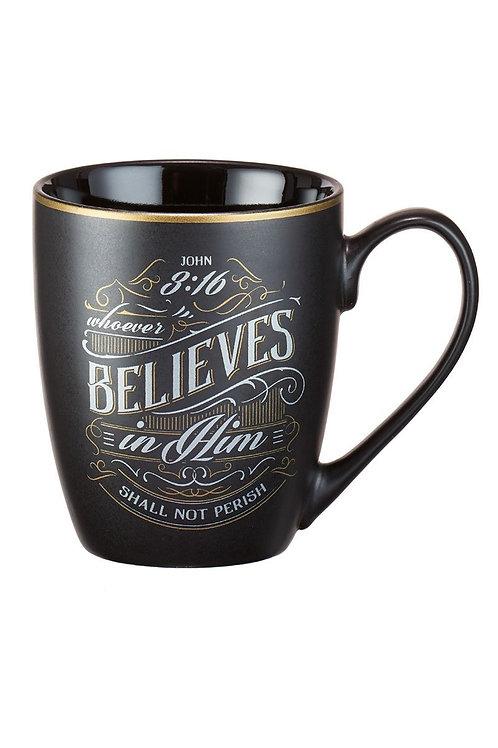 John 3:16...black mug with gold rim