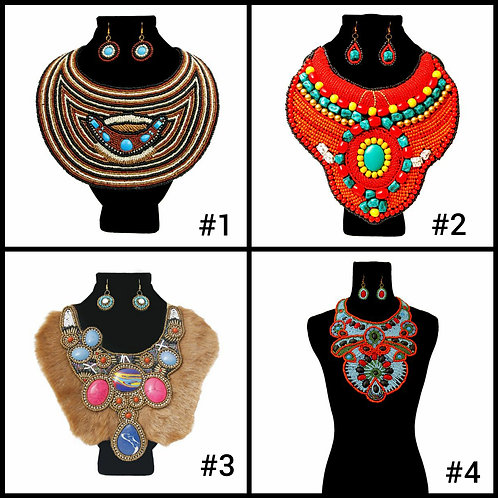 Handcrafted Beaded Bib Necklace Set