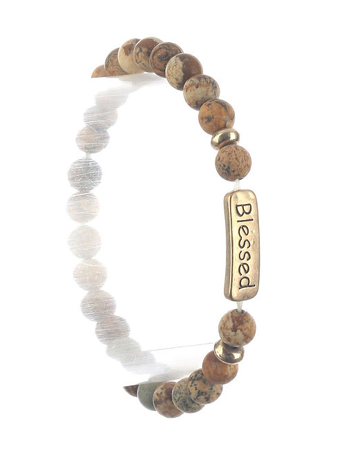Blessed or Faith Stretch Stone Bracelet