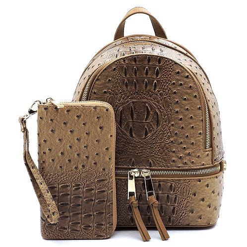 Stone Ostrich Croc 2-in-1 Backpack