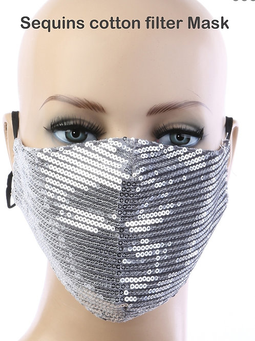 Silver Sequin  mask with filter pocket
