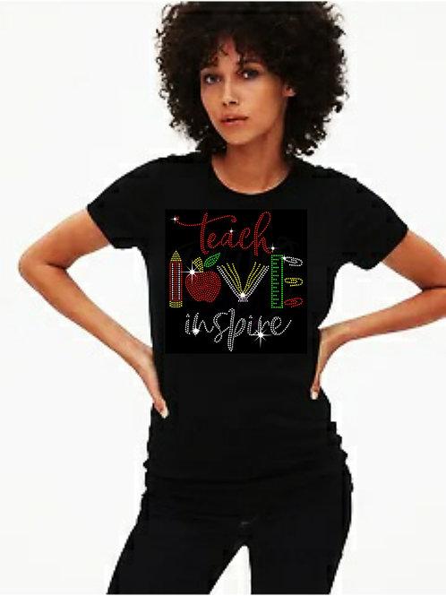 Teach Love Inspire Bling Tee or Tote Bag