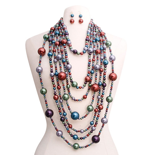 Multi Strand faux pearl necklace set