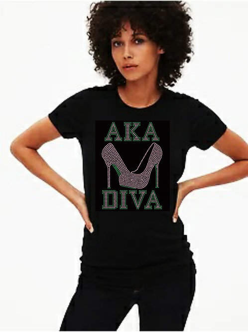 AKA Inspired Diva Bling Tee or Tote Bag