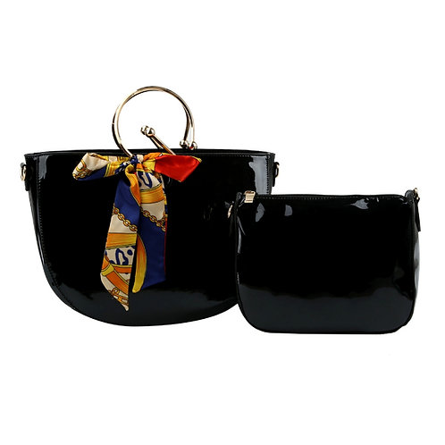 Black Semicircle Handbag Set