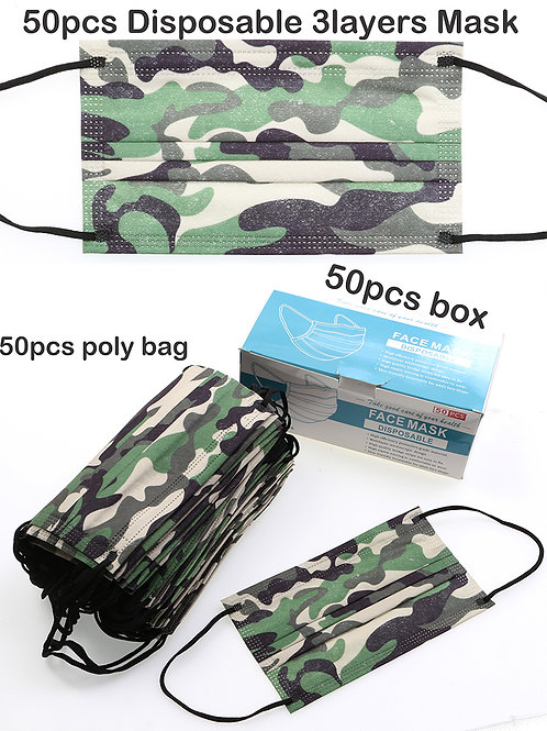 Camo 50 piece disposable face mask sets