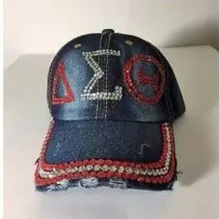 Delta Sorority: Bling Denim Baseball Cap
