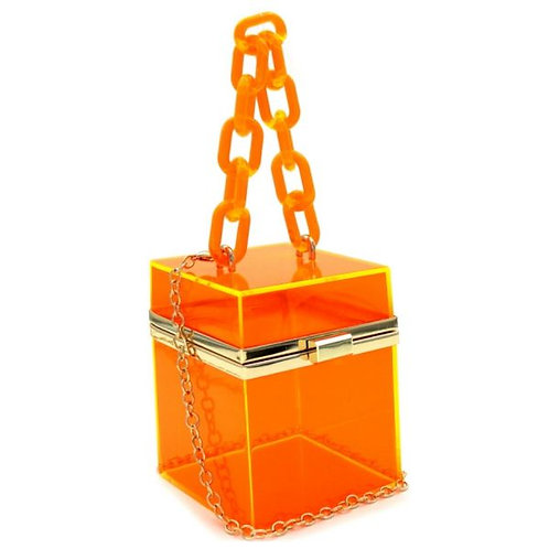 Orange Clear Boxy Crossbody Clutch
