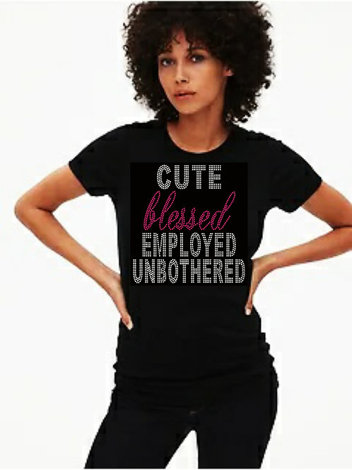 Cute Blessed Employed...Bling Tee or Tote Bag