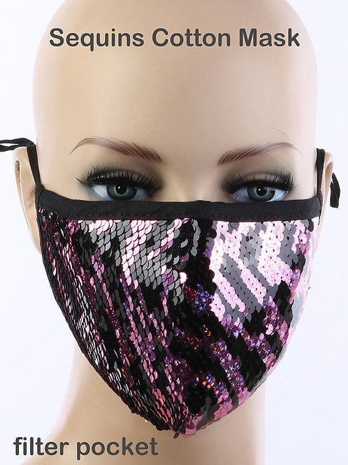Pink Animal Print Face Mask with filter pocket