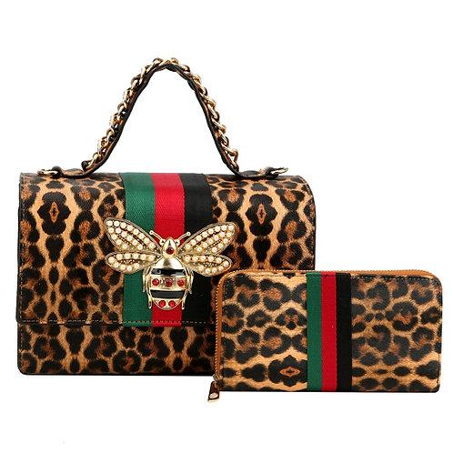 Gucci Inspired Leopard Stripe Satchel Set