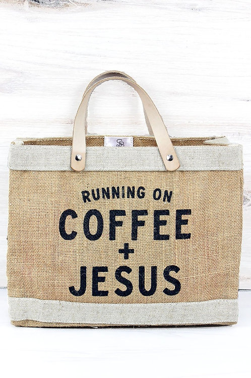 JUTE 'RUNNING ON COFFEE+JESUS' MARKET TOTE